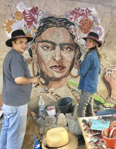 The Fractured Fantasies mural in the mountains of Puebla, Mexico honors Mexican painter Frida Kahlo.