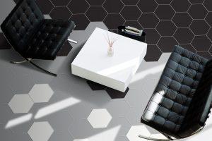 hex tile room scene