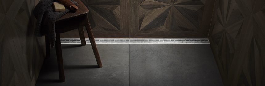 linear drain in a wood look shower