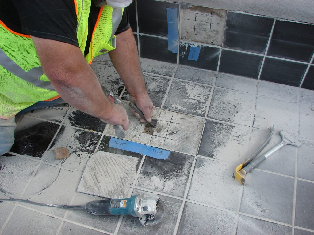 Photo of floor tile installation in a bathrooom