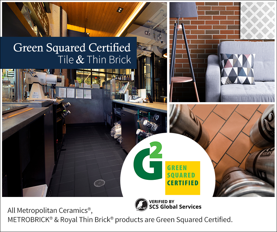images of Ironrock quarry and thin brick products and Green Squared Certified logo