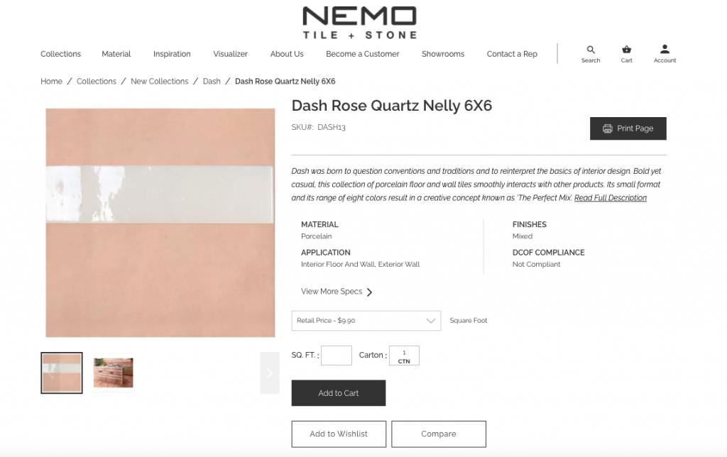 website screen shot of Nemo Tile