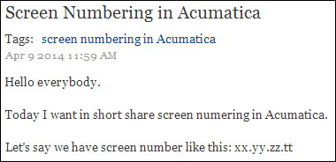 Zaletskyy's blog: Screen Numbering in Acumatica