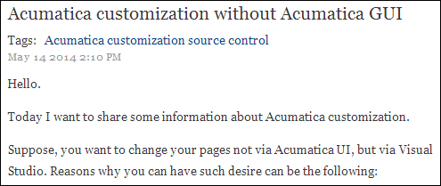 Zaletskyy's blog: Acumatica and Microsoft Visual Studio