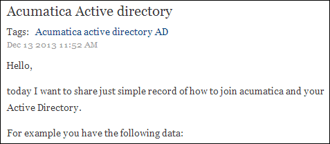 Zaletskyy's blog: Acumatica Active Directory Integration