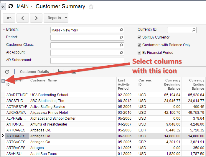 Select Acumatica Inquiry Columns