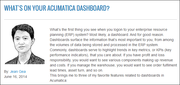 Acumatica Blog: Importance of Dashboards