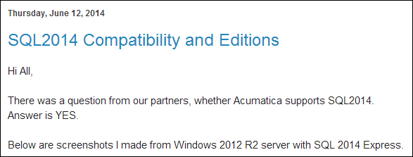 Sergey Blog: Acumatica and Microsoft SQL Server 2014