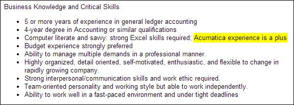 Acumatica Job Opportunity
