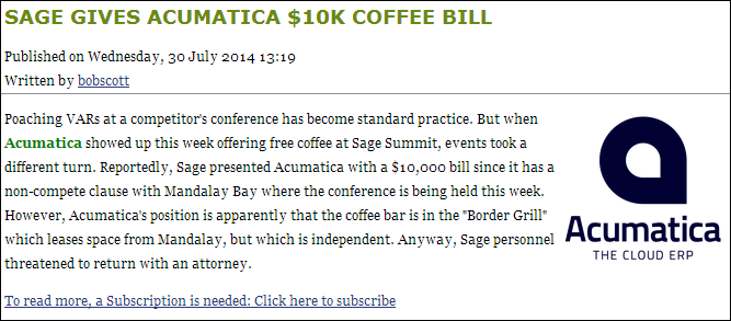 Sage Gives Acumatica $10K Coffee Bill (Bob Scott)