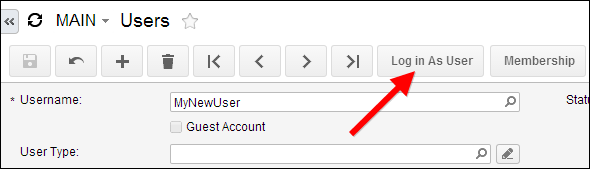 Acumatica Log in As User Button
