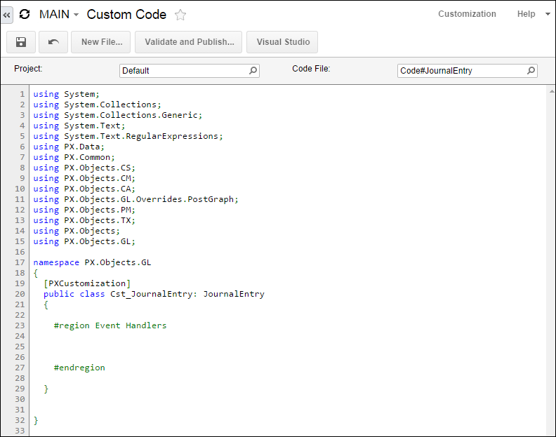 Acumatica Custom Code Editor