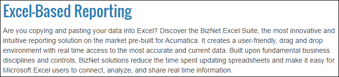 Acumatica Excel-Based Reporting Using BizNet