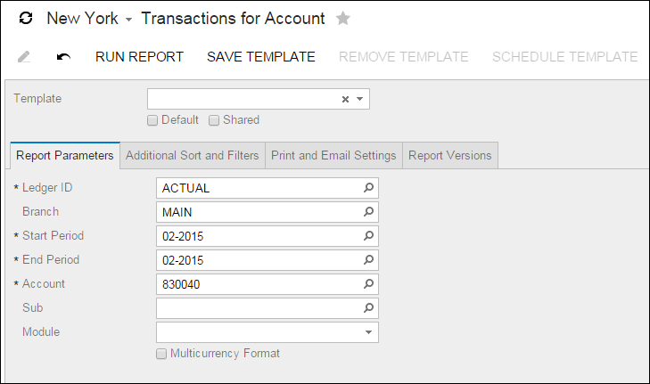 Acumatica Report Review: Transactions for Account