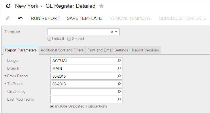 Acumatica Standard Reports: GL Register Detailed