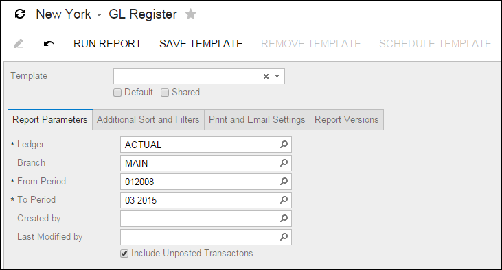Acumatica Report Review: GL Register