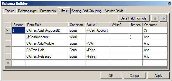 Acumatica CA Edit Report Schema Builder