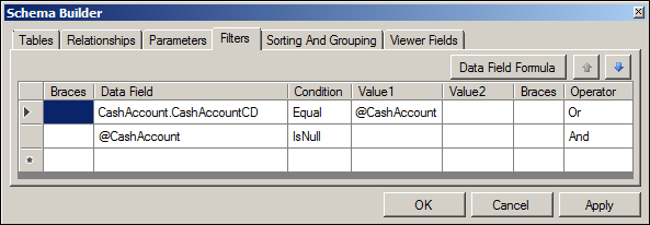 Acumatica Reconciliation Statement Report Schema Builder