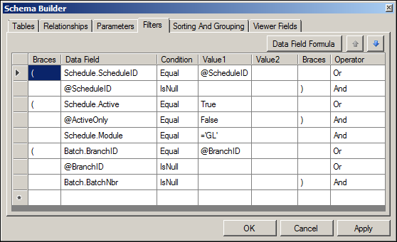 Acumatica GL Recurring Transactions Detailed Report Schema Builder