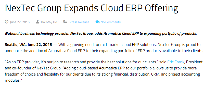 NexTec Group Expands Cloud ERP Offering