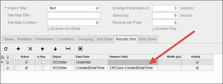 Acumatica Generic Inquiry Date and Time