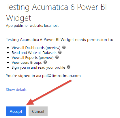 Power BI Tile Dashboard Widget in Acumatica 6