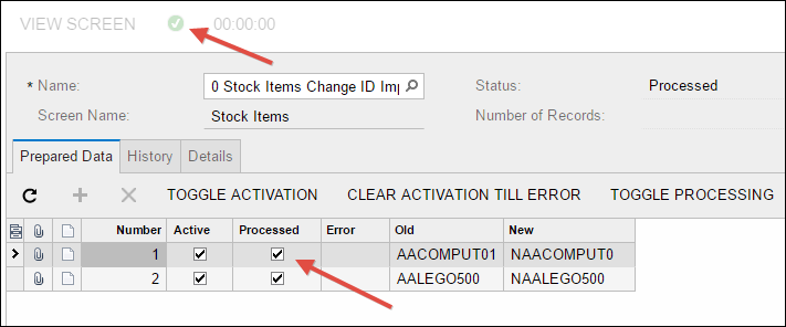 Sample Acumatica Import Scenario (Stock Items Change ID)