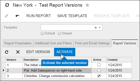 Activate a prior report version