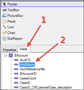 Selecting a field in Acumatica Report Designer