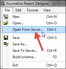 Acumatica Report Designer - Open From Server...