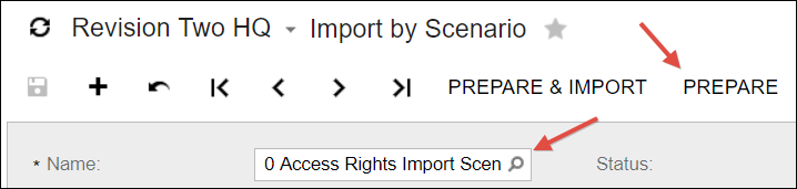 Sample Acumatica Import Scenario (Access Rights)