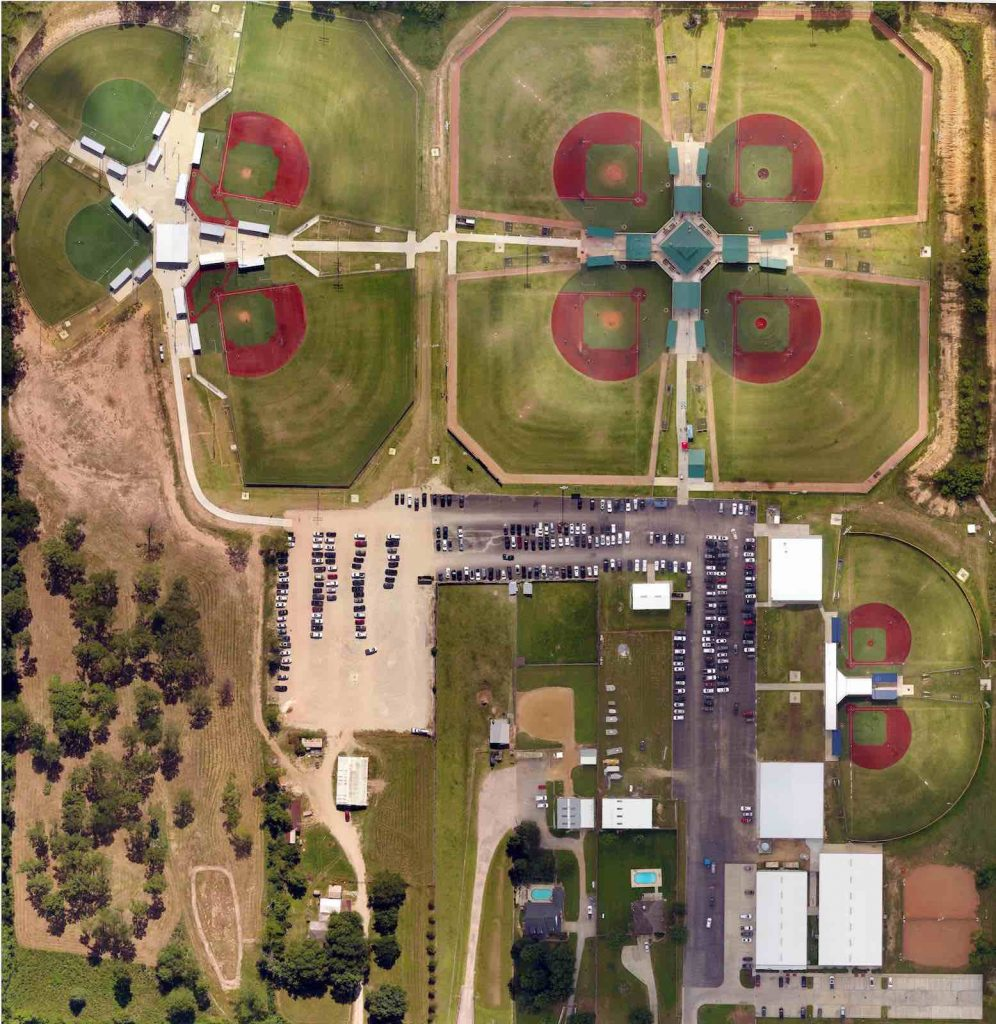 Birdseye view of Premier Baseball of Texas Sports Complex