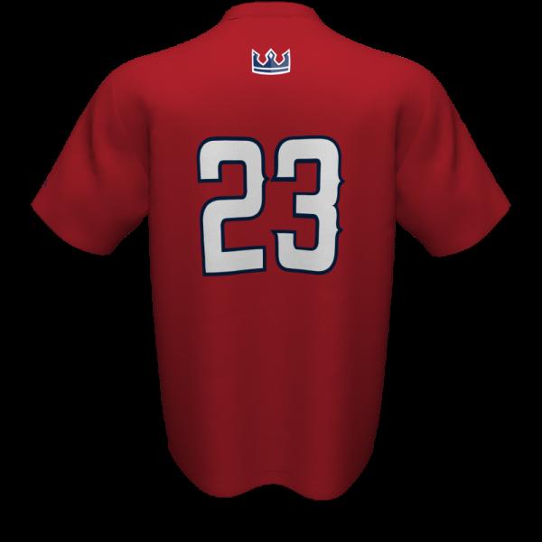 Tomball Kings red baseball jersey, back.
