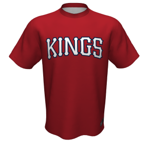 Tomball Kings red baseball jersey, front.