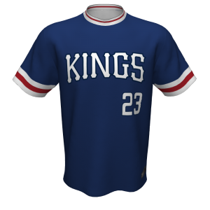 Tomball Kings blue baseball jersey, front, for varsity players.