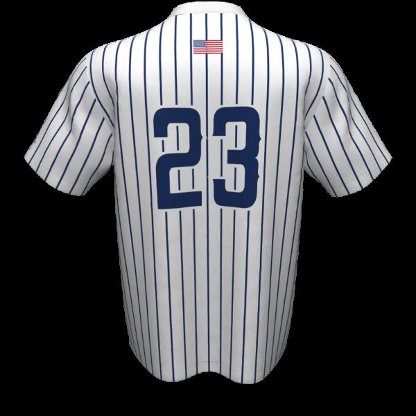 Tomball Kings pinstripe baseball jersey, back, for varsity players.