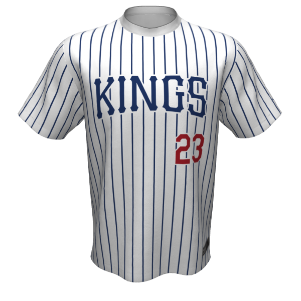 Tomball Kings pinstripe baseball jersey, front, for varsity players.