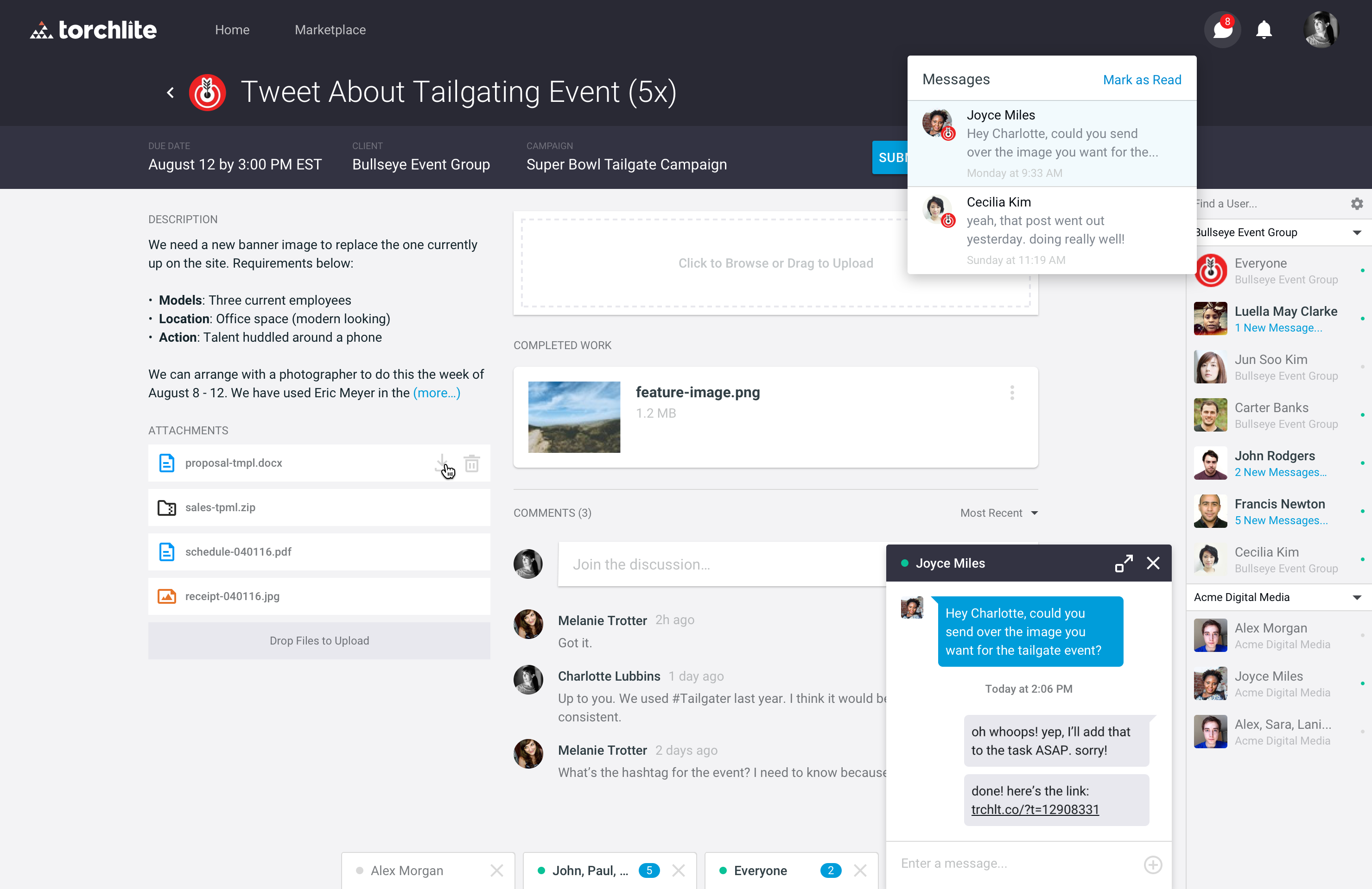 Chat in Torchlite platform