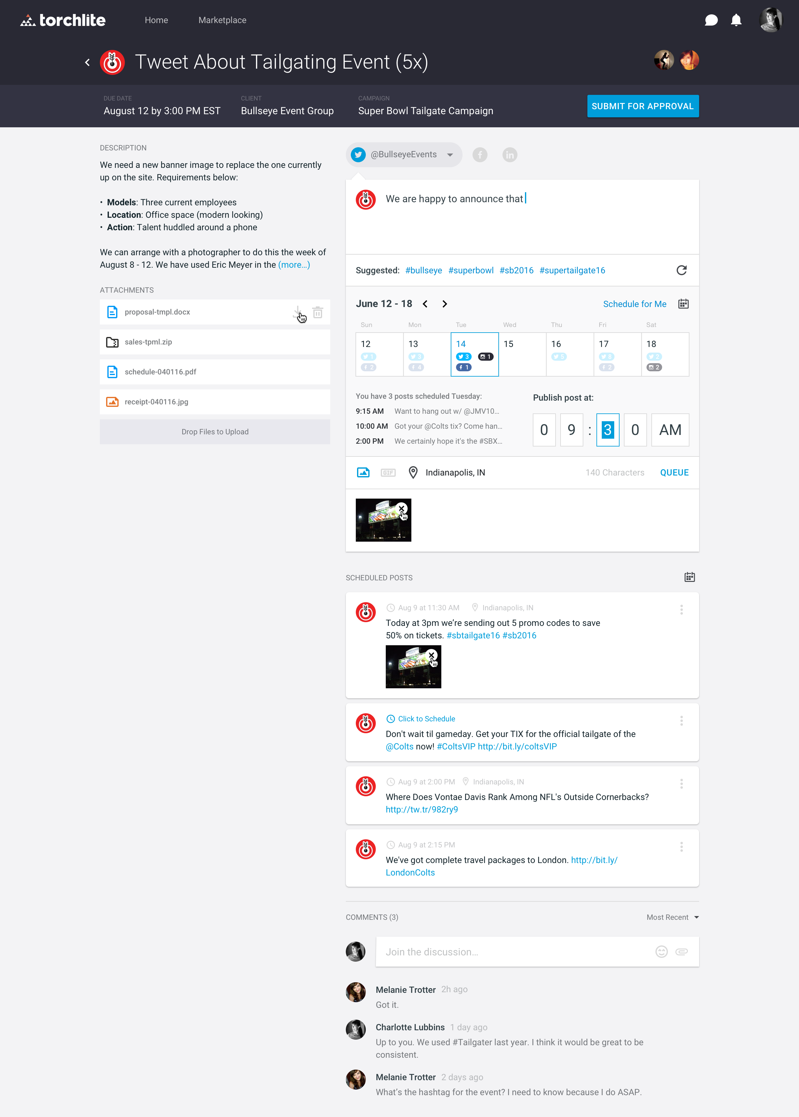 Social scheduling in the Torchlite platform