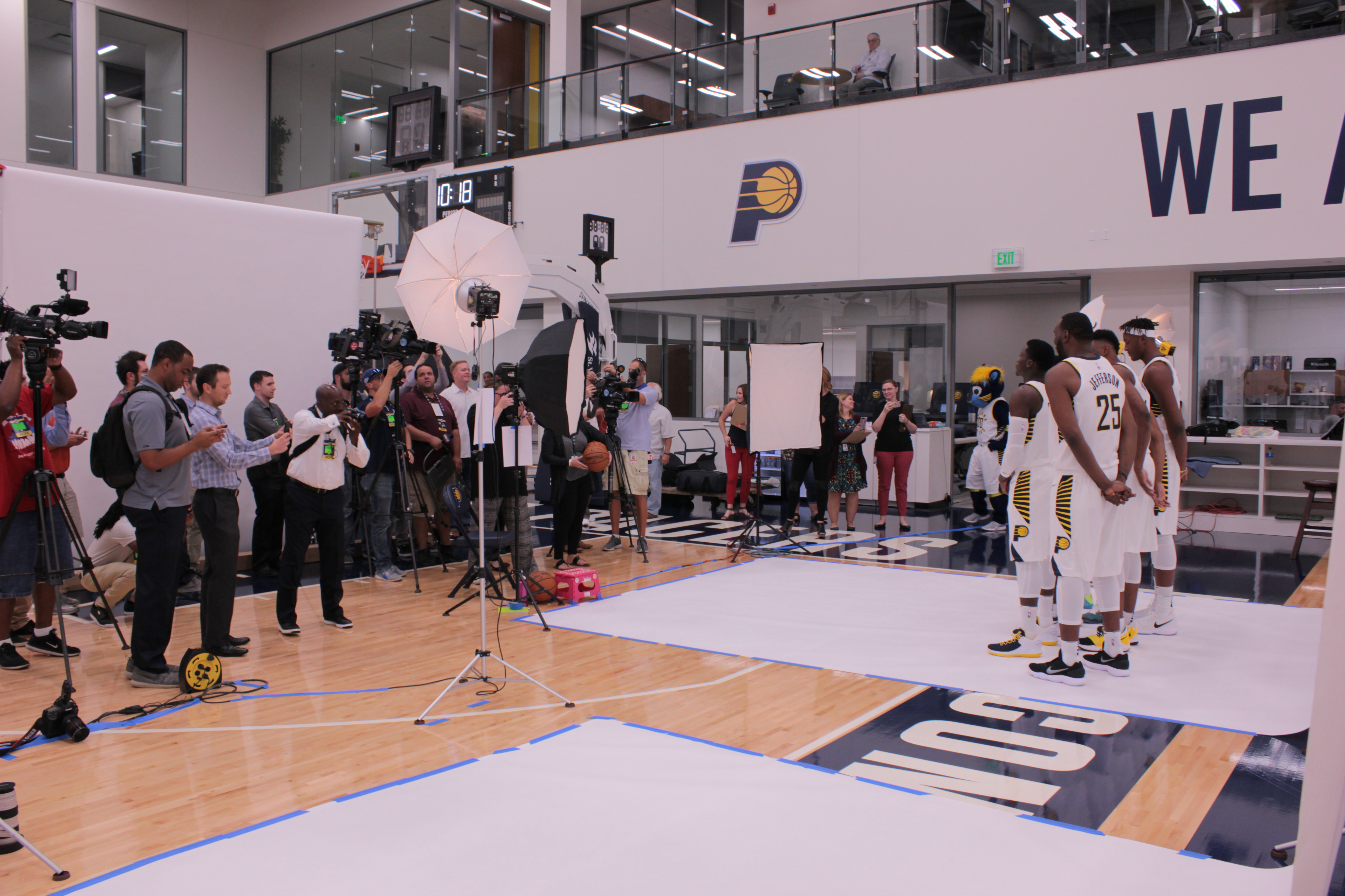 Pacers players with the media