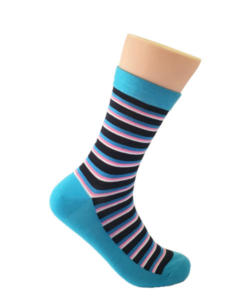 Blue & Pink Striped Socks