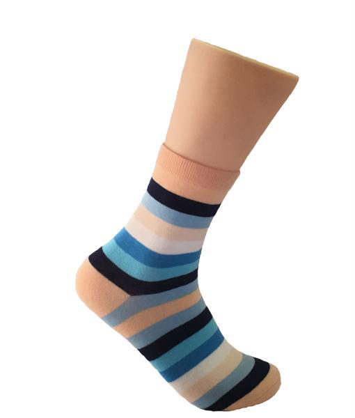 Blue & Peach Striped Socks