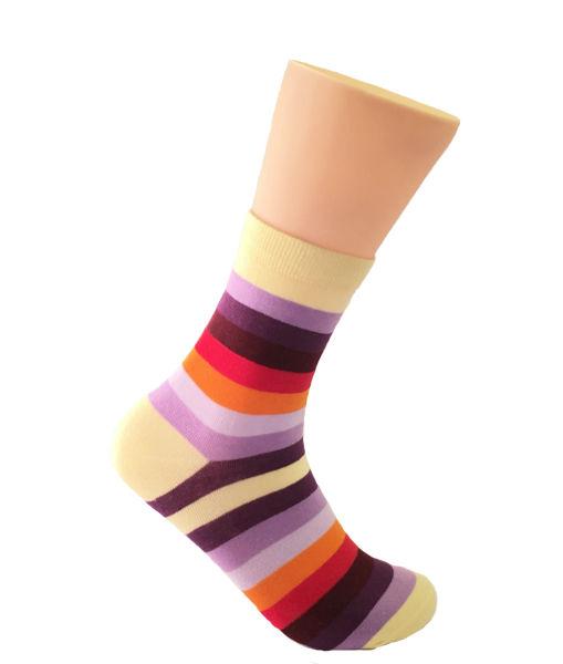 purple striped socks
