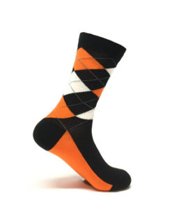 Orange and Black Argyle Sock