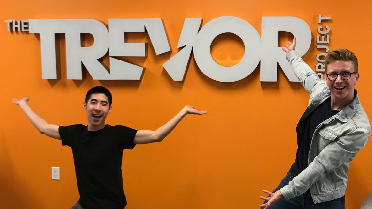 Tyler Oakley and Kevin Wong at The Trevor Project