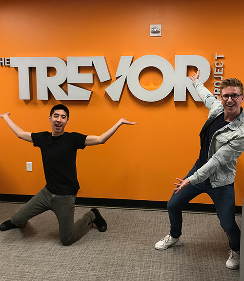 Tyler Oakley and Kevin Wong at The Trevor Project With Turn Up The Love