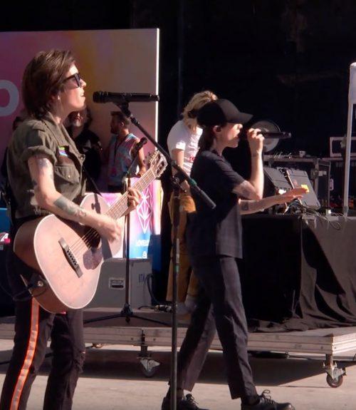 Tegan and Sara performing live at LOVELOUDfest 2019