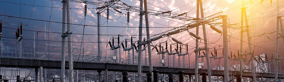 Electric power plant station.