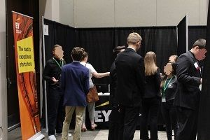 UND Accountancy Career Fair attendees meet with recruiters.