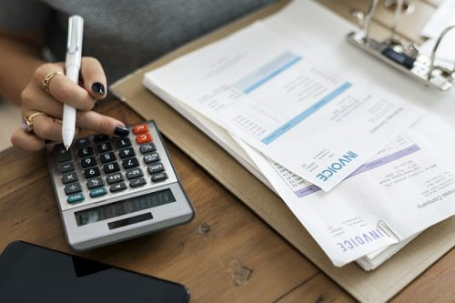 An accountant processing invoices